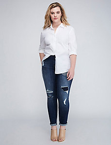 Stripe-Backed Destructed Skinny Jean