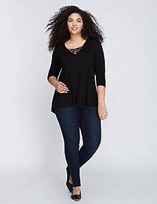 Mock Lace-Up Swing Top