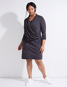 Long-Sleeve Faux Wrap Dress