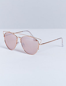 Open-Frame Mirrored Aviator Sunglasses