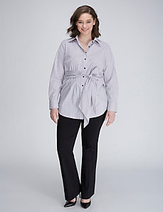 Striped Tunic Shirt with Tie Waist