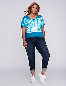 Accordion Striped Tie-Dye Ruched V-Neck Tee