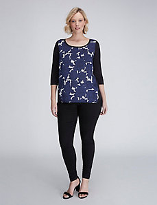 Floral Mixed-Fabric Top