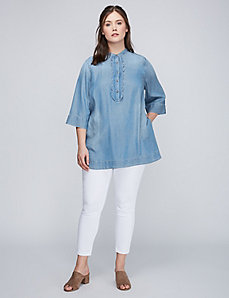 Scalloped Placket Shirt by Melissa McCarthy Seven7
