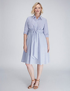Mixed-Stripe Shirtdress with Tie Waist