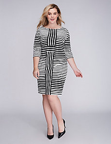 Mixed Stripe Sheath Dress by Gabby Skye