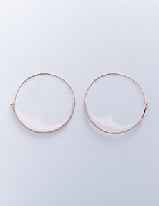 Wire Hoop Earrings with Flattened Half