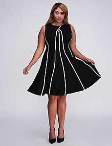 Contrast Piping Fit & Flare Dress by Gabby Skye