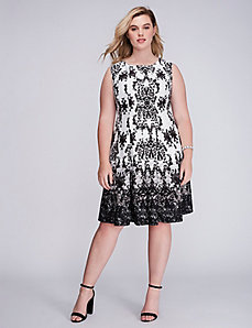 Printed Scuba Fit & Flare Dress by Gabby Skye