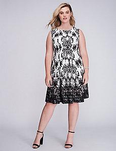 Printed Scuba Fit & Flare Dress by Gabby Skye