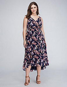 Printed Ruffle-Hem Midi Dress