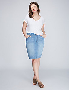 5-Pocket Denim Pencil Skirt with T3 Tighter Tummy Tecnology