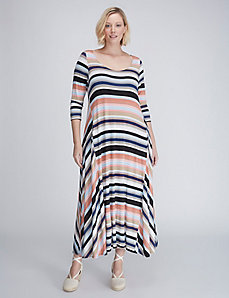 Striped Sharkbite-Hem Maxi Dress