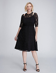 Geo Lace Cutout Dress by Kiyonna