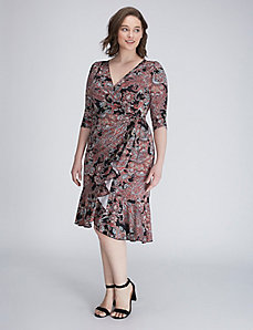 Paisley Whimsy Wrap Dress by Kiyonna