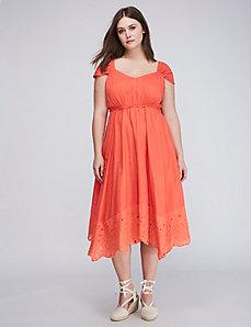Eyelet-Hem Midi Dress