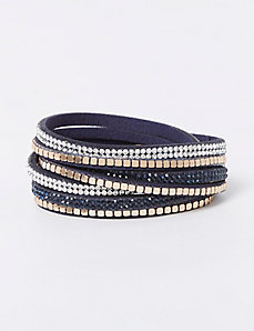 4-Row Faux Leather Wrap Bracelet