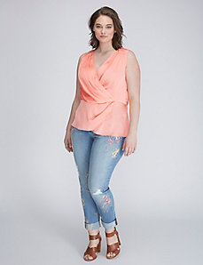 Drape-Front Sleeveless Blouse by Melissa McCarthy