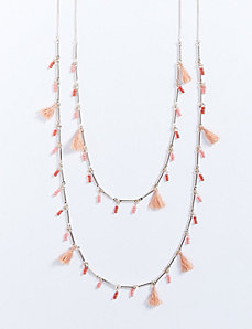 2-Layer Necklace with Beads & Tassels
