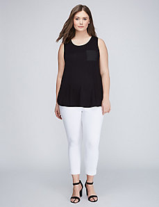 Fabric Mix Sleeveless Pocket Tee