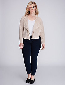 Perforated Faux Suede Jacket by Lysse