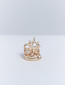 Star & Leaf 5-Stack Statement Rings