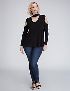 Cold-Shoulder Choker Top