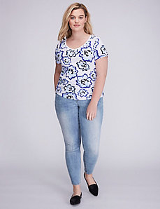 Printed Ruched V-Neck Tee