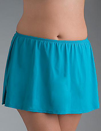 Full figure Algiers blue slitted swim skirt