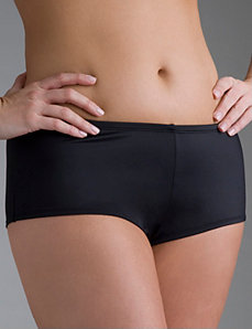 Slimming Black boyshort swim bottom in sizes 14 - 28