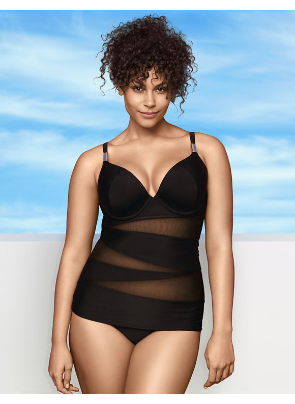 Lane Bryant Plus Size Illusion swim tank with built-in plunge bra - - Women's Size 40DD,44DD,44C,44D,44DDD, Black
