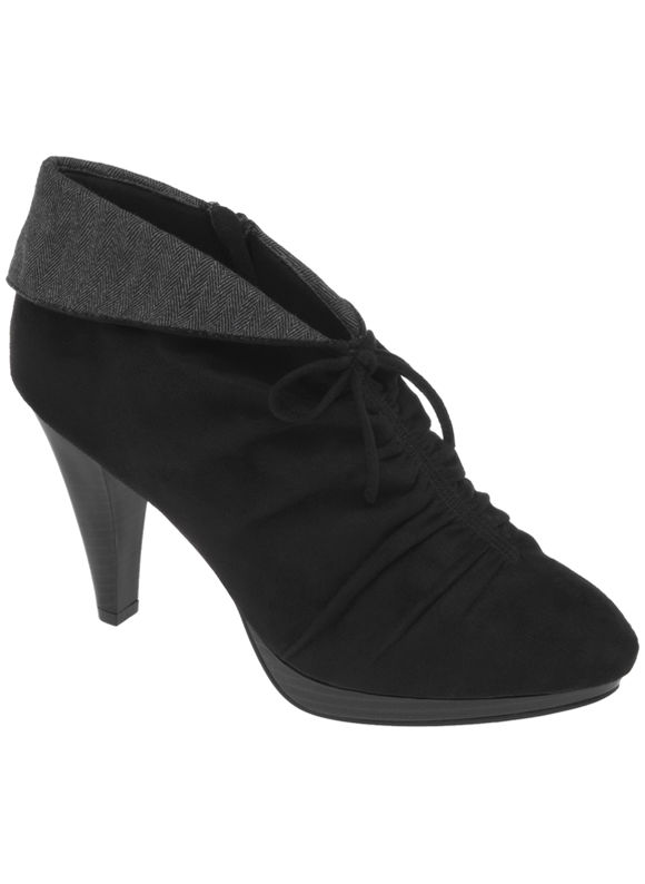Lane Bryant Faux suede ruched shootie - Women's Plus Size/Black -
