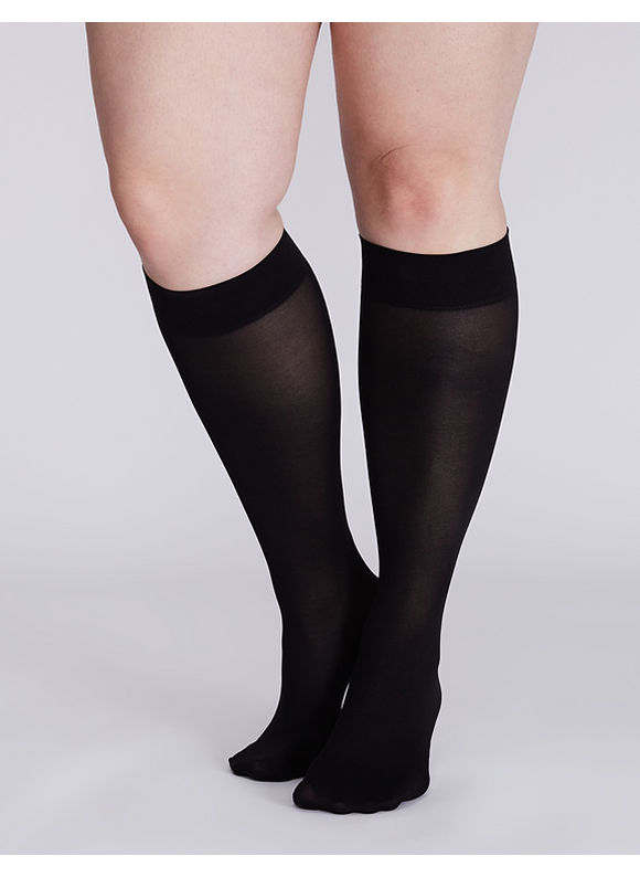 Lane Bryant Solid trouser sock 2-pack,  Women' Black plus size,  plus size fashion plus size appare