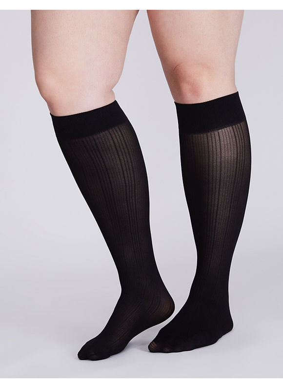Lane Bryant Ribbed trouser sock 2-pack,  Women' Black plus size,  plus size fashion plus size appare