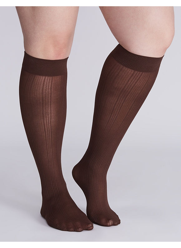 Lane Bryant Ribbed trouser sock 2-pack,  Women' Brown plus size,  plus size fashion plus size appare