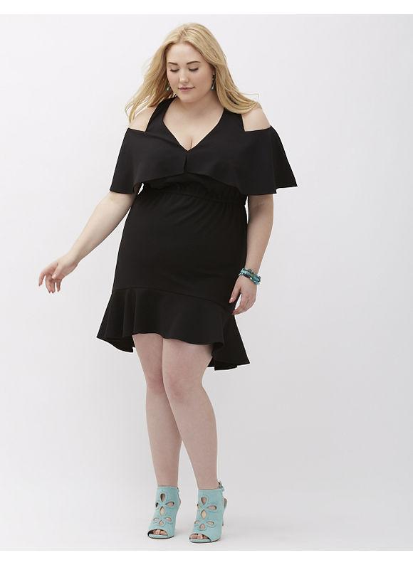 ABS Allen Schwartz Plus Size Deep V Dress with Cutouts by, Women's, Size: 1XL, Black