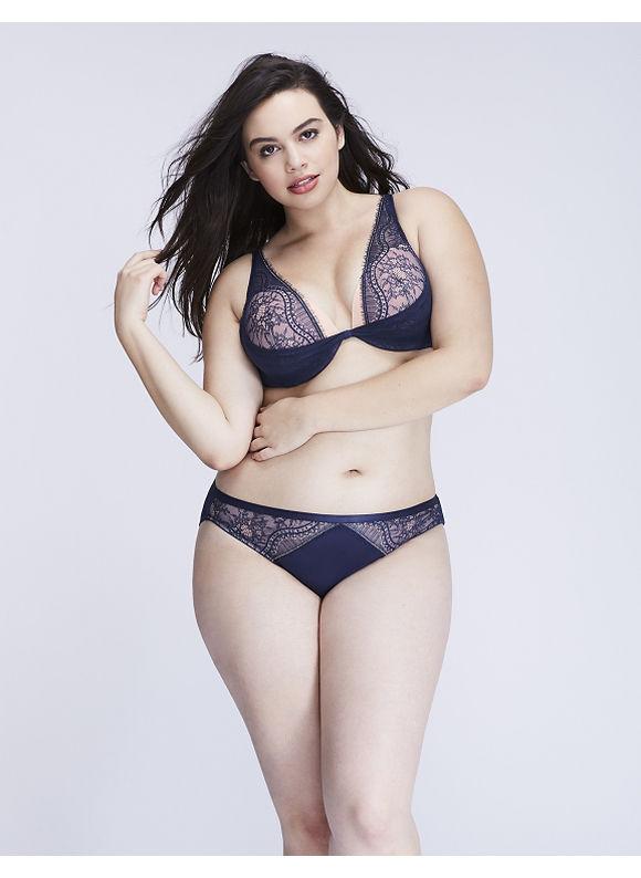 Cacique Plus Size Eyelash Lace Bikini Panty,  Women' Size: 22/24,  Estate Blue plus size,  plus size fashion plus size appare
