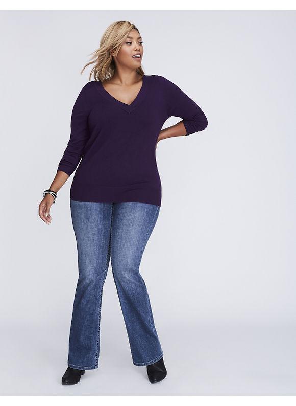 Lane Bryant Plus Size V-Neck Sweater, Women's, Size: 22/24, Blackberry Cordial