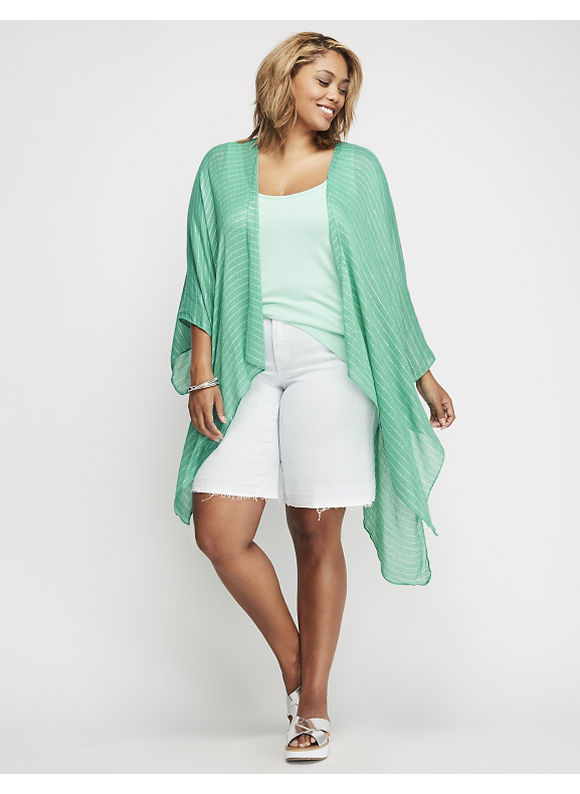 Lane Bryant Kimono with Shine Womens Aqua Green $39.95 AT vintagedancer.com