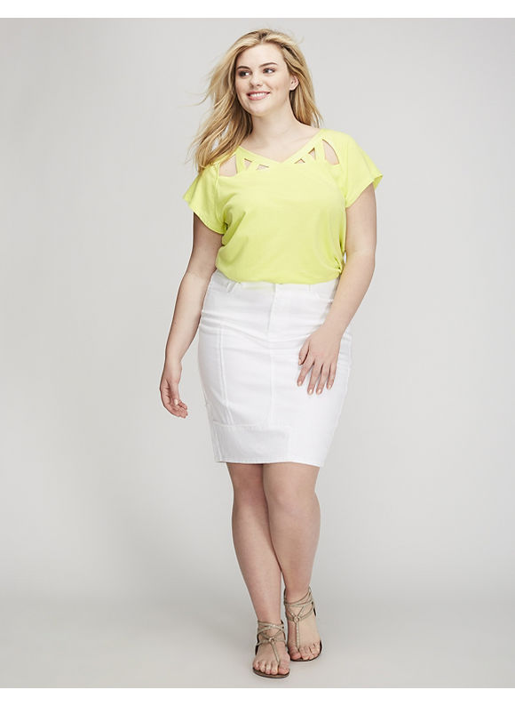 Lane Bryant Plus Size Tee with Yoke Cutout Women' Size: 26/28,  Green plus size,  plus size fashion plus size appare