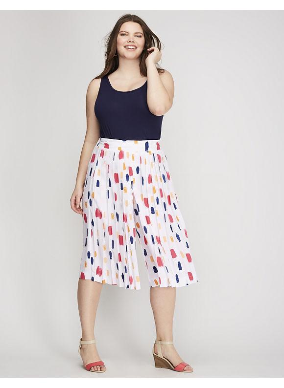 Lane Bryant Plus Size Dot Pleated-Front Culotte Womens Size 2628 Montauk Paint $59.95 AT vintagedancer.com