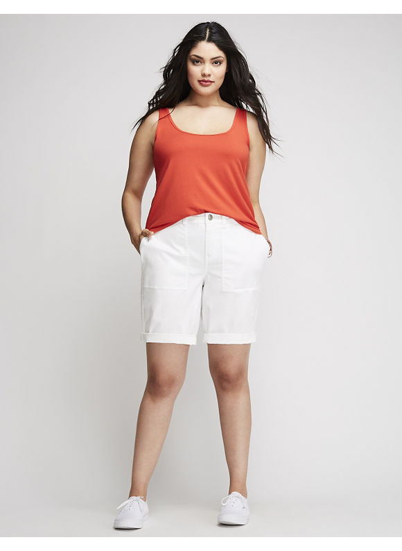 Lane Bryant Plus Size Patch Pocket Bermuda Short,  Women' Size: 28,  White plus size,  plus size fashion plus size appare