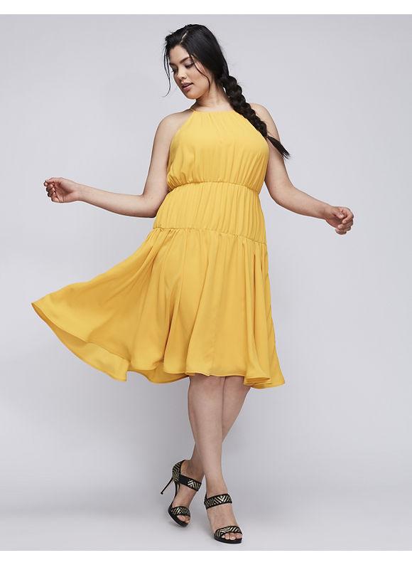 Lane Bryant Plus Size 6TH & Lane Flare Dress, Women's, Size: 14, Goldstone