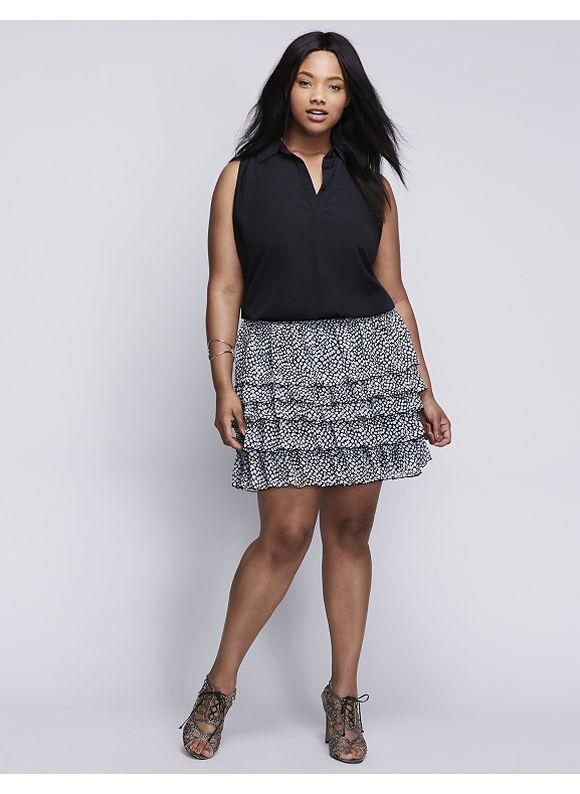 Lane Bryant Plus Size Chiffon Tiered Skirt,  Women' Size: 14/16,  Desert Pebble plus size,  plus size fashion plus size appare
