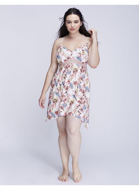 Rochie de damă STRAPPY CHEMISE, model floral, plus size