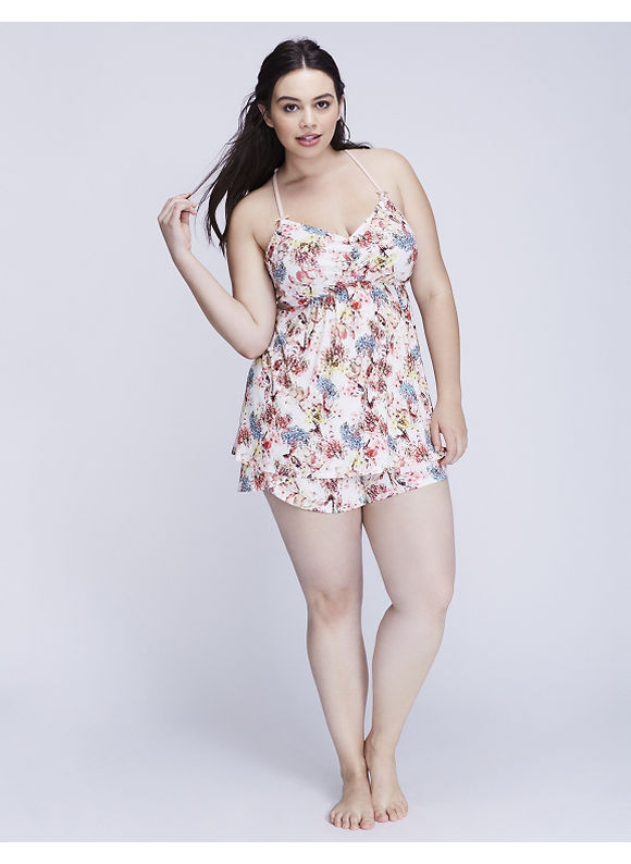 Cacique Plus Size Printed Strappy Lace-Back Cami & Short PJ Set,  Women' Size: 22/24,  Parisian Botanical plus size,  plus size fashion plus size appare