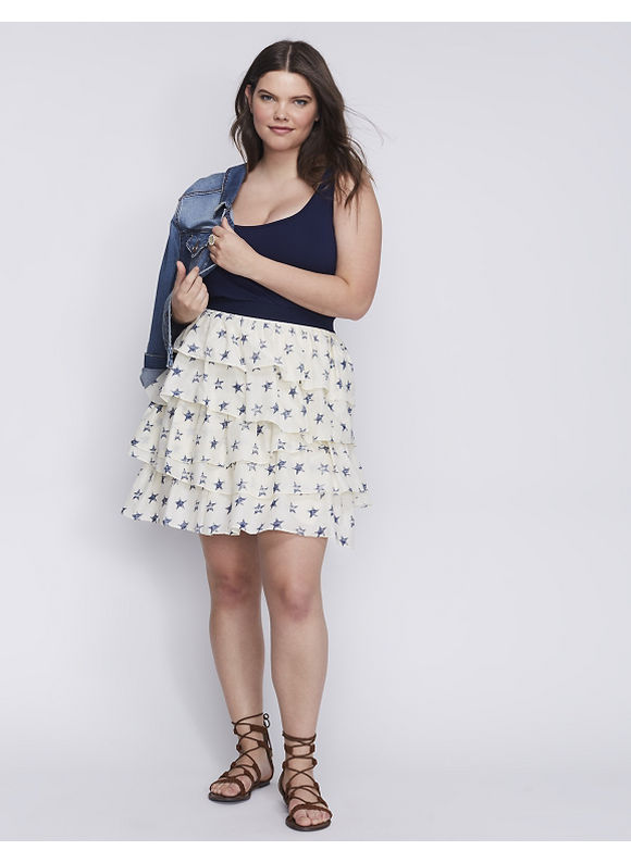 Lane Bryant Plus Size Printed Tiered Skirt,  Women' Size: 22/24,  Stamped Star plus size,  plus size fashion plus size appare