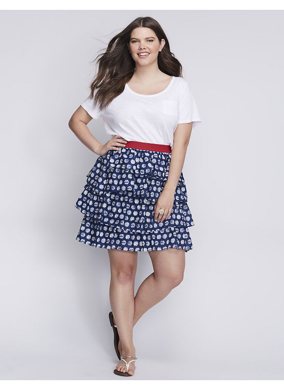 Lane Bryant Plus Size Printed Tiered Skirt,  Women' Size: 26/28,  Stamped Dot plus size,  plus size fashion plus size appare