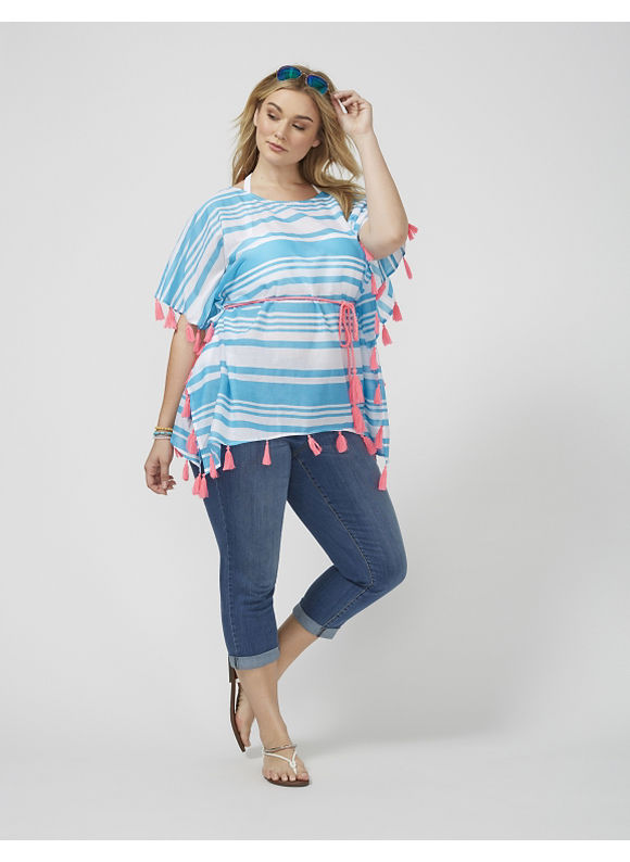 Lane Bryant Plus Size Striped Caftan with Pom Pom Women' Size: 14/16 plus size,  plus size fashion plus size appare