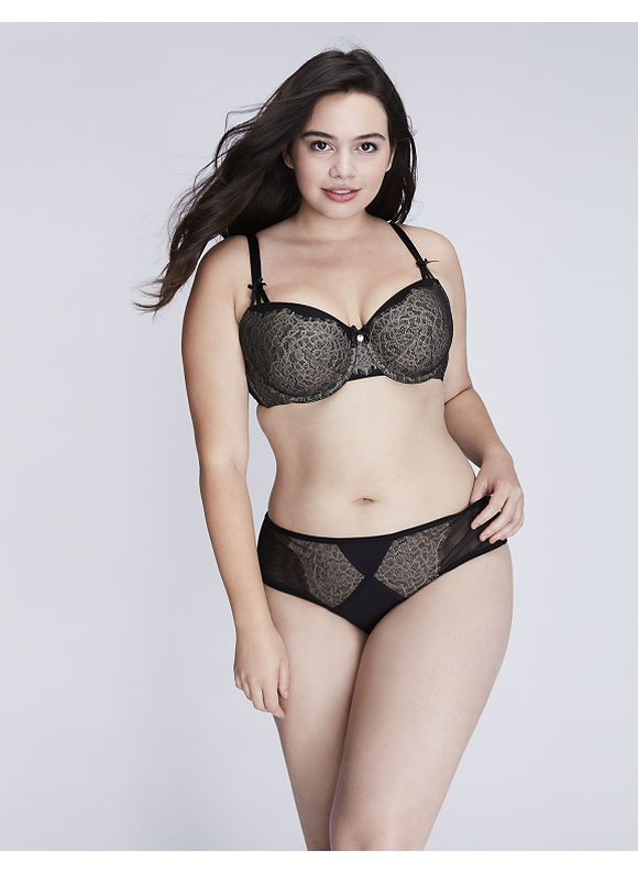 Cacique Plus Size Veiled Lace Strappy-Back Cheeky Panty,  Women' Size: 14/16,  Black plus size,  plus size fashion plus size appare